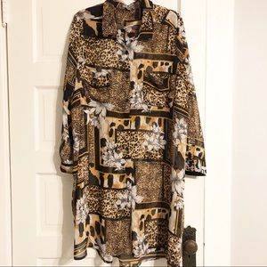Jessica London Long Sheer Animal Print Dress 26W